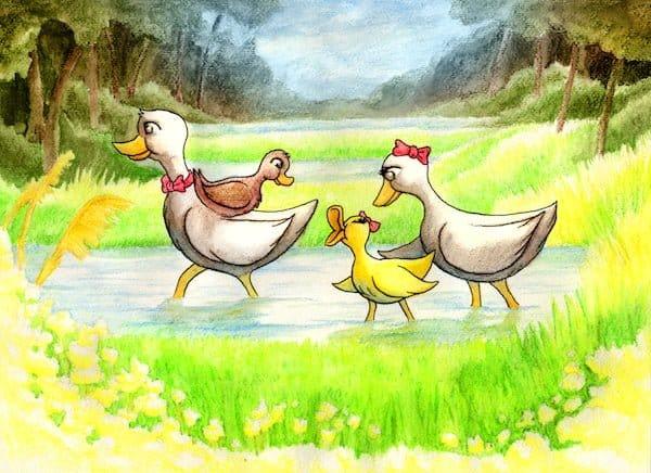 Cartoon photo of a family of ducks