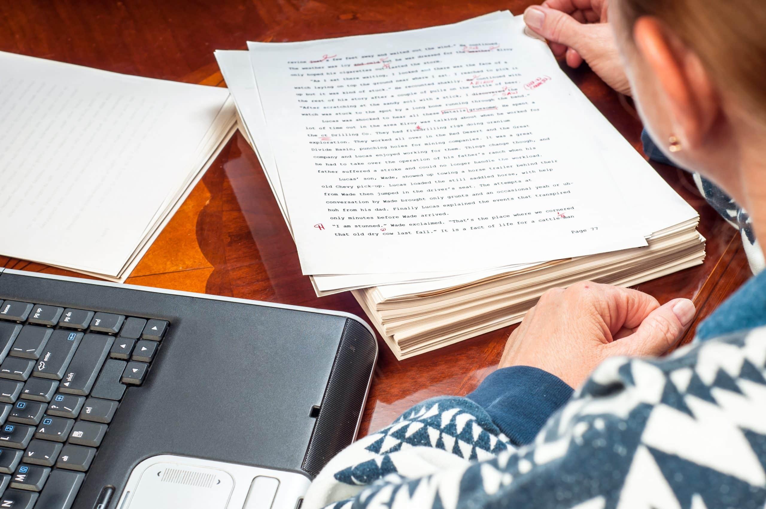 editor reading manuscripts
